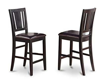 East West Furniture BUS BLK LC Counter Height Chair Set With Faux Leather  Upholstered
