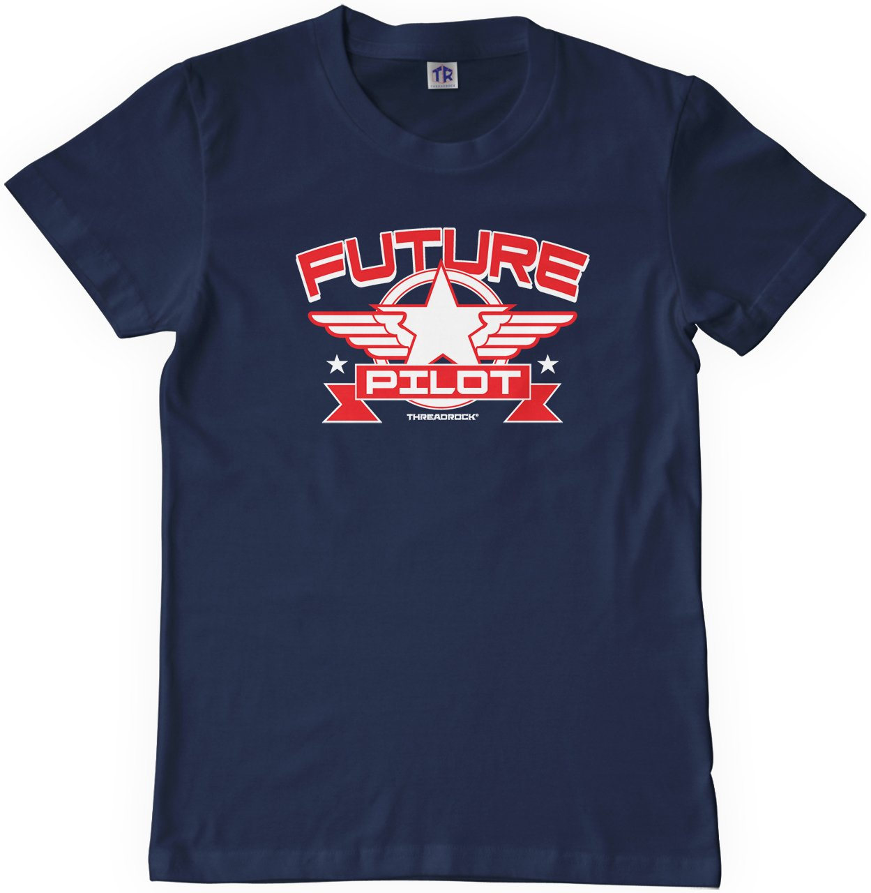 Threadrock Big Boys' Future Pilot Youth T-Shirt M Navy