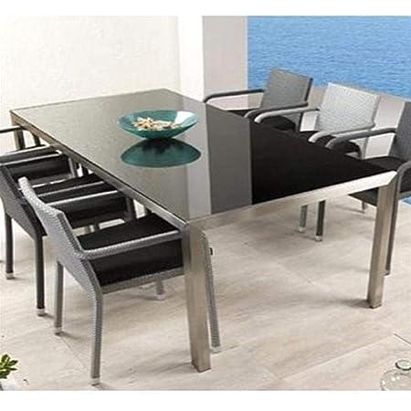 Mesa de Comedor Salon Moderna | Cristal y Acero Inoxidable ...