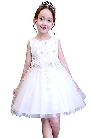6dc86b1194de9  eones ドレス 子供 フォーマルドレス 子供服 ワンピース ホワイトドレス 花刺繍 発表会