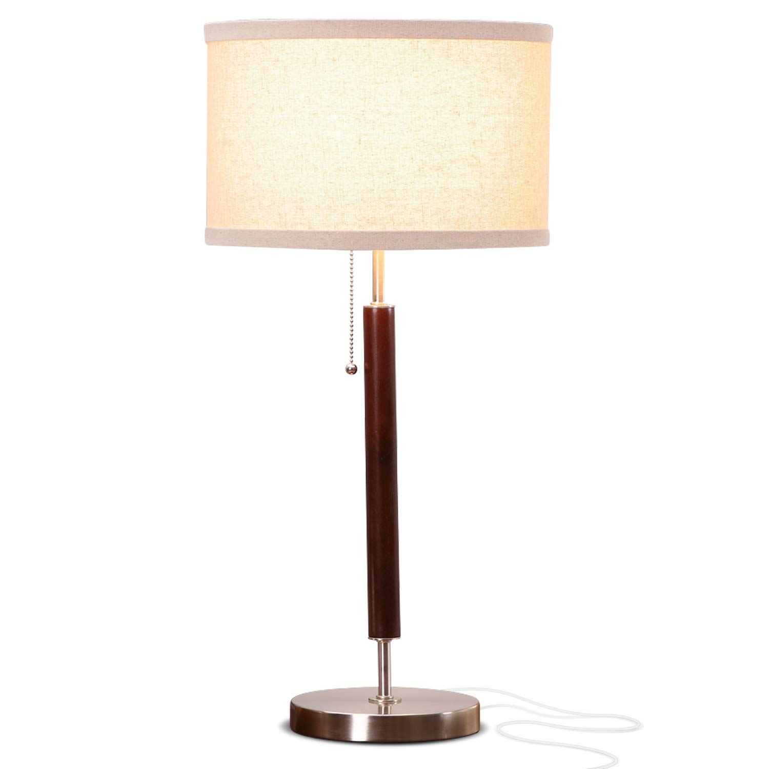 Delicieux Brightech Carter Nightstand U0026 Side Table Lamp   Contemporary Bedroom Lamp  For Soft Bedside Light   Stainless Steel U0026 Wood Finish     Amazon.com