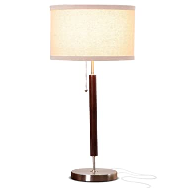 Brightech Carter Nightstand & Side Table Lamp - Contemporary Bedroom Lamp for Soft Bedside Light - Stainless Steel & Wood Finish