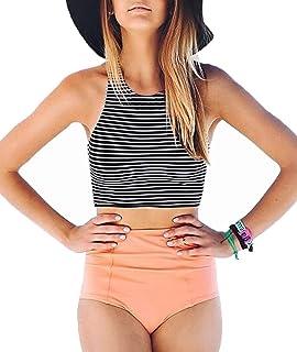 adbd595f00b93 Lashapear Women s Black White Stripe High Waist 2 Piece Bathing Suits  Bikini Swimsuit