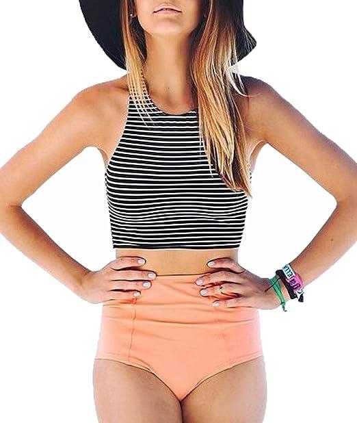 d9b300ca11d Amazon.com  Lashapear Women s Black White Stripe High Waist 2 Piece Bathing  Suits Bikini Swimsuit  Clothing