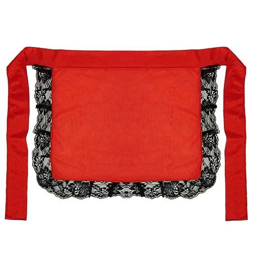 faf62e18cf3e3 Amazon.com: Adult/Teen Red Nurse or Maid Apron with Black Lace ...