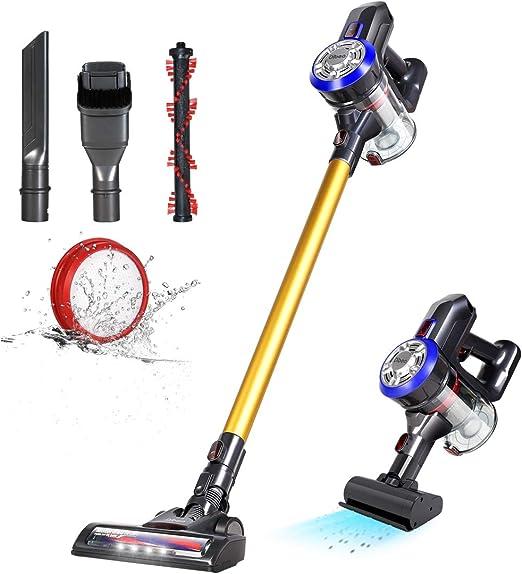 dibea 5 in 1 Motorhead Cordless Vacuum Cleaner,12000Pa Upright Handheld Stick Vacuum for Carpet Floor Pet Hair,Gold