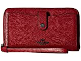 COACH Women's Polished Pebbled Leather Phone Wallet Dk/Cherry Wallets