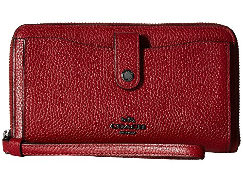COACH Women's Polished Pebbled Leather Phone Wallet Dk/Cherry Wallets by Coach