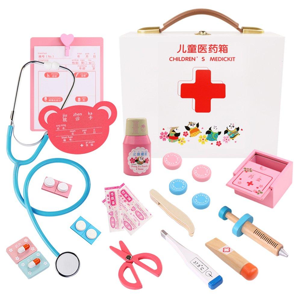 Walmeck メディカルおもちゃキット 木製お医者さんキット 子供用 リアルなごっこ遊び 医者おもちゃセット 医療キット 歯科医キット 15Pcs WAD9452513290026CT 15Pcs  B07L2PS7N4