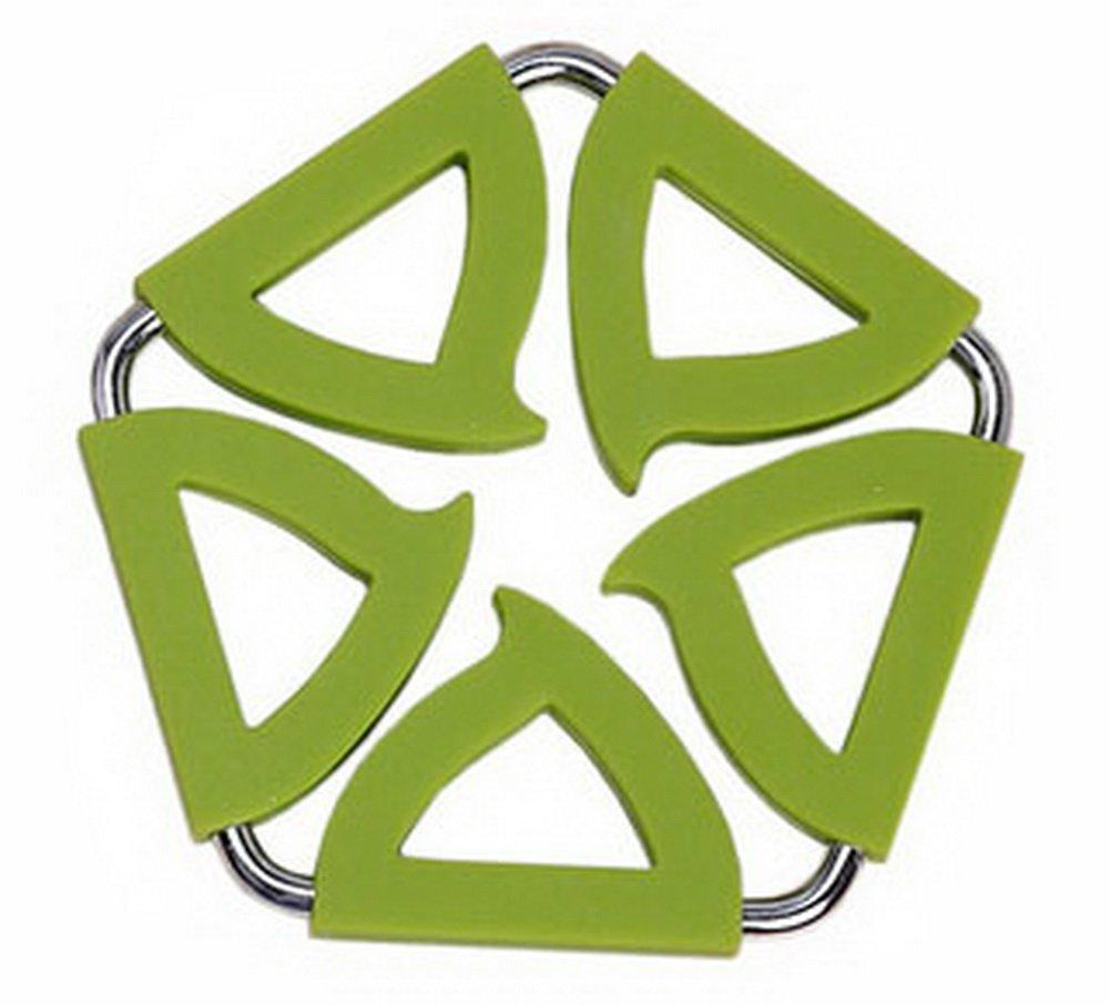 Pentagon Stainless Steel Silicon Potholders Pot Holder, Heat-proof Mat(Green)