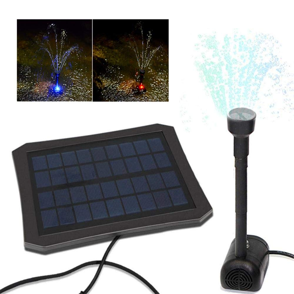 Aolvo Solar Water Fountain Pump LED Color Changing Decorative Garden Water Pump, Inbuilt Battery, Efficient Solar Panel, Suitable for Garden and Patio