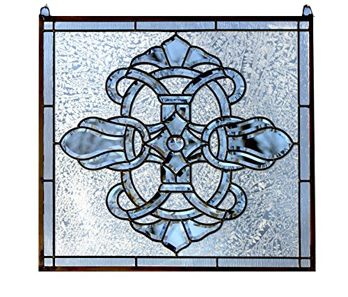 """24"""" x 24"""" Tiffany Style stained glass Clear Beveled window panel"""