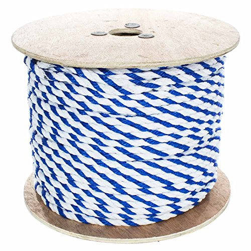 West Coast Paracord Twisted 3 Strand Polypropylene Rope (Whiet and Blue, 1/2 Inch, 50 Feet) - Waterproof and Floats in Water