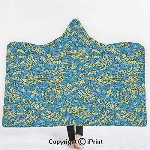 Yellow and Blue 3D Print Soft Hooded Blanket Boys Girls Premium Throw Blanket,Doodle Style Floral Swirls Curves Ornate Blooms Flourish Decorative,Lightweight Microfiber(Kids 50
