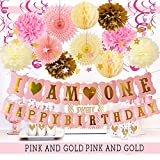 Girl First Birthday Decorations Furuix I AM ONE Banner Paper Fans Swirl Garlands Pink Twinkle Twinkle Little Star Backdrop Cloud for One Year Old Girls' Princess Birthday Party Supplies