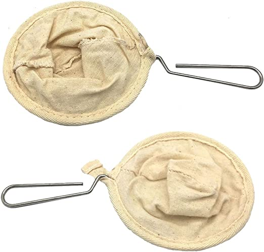 """8 """" Thai tea coffee filter cloth cotton bag strainer wood handle,pack of 1.2,4."""