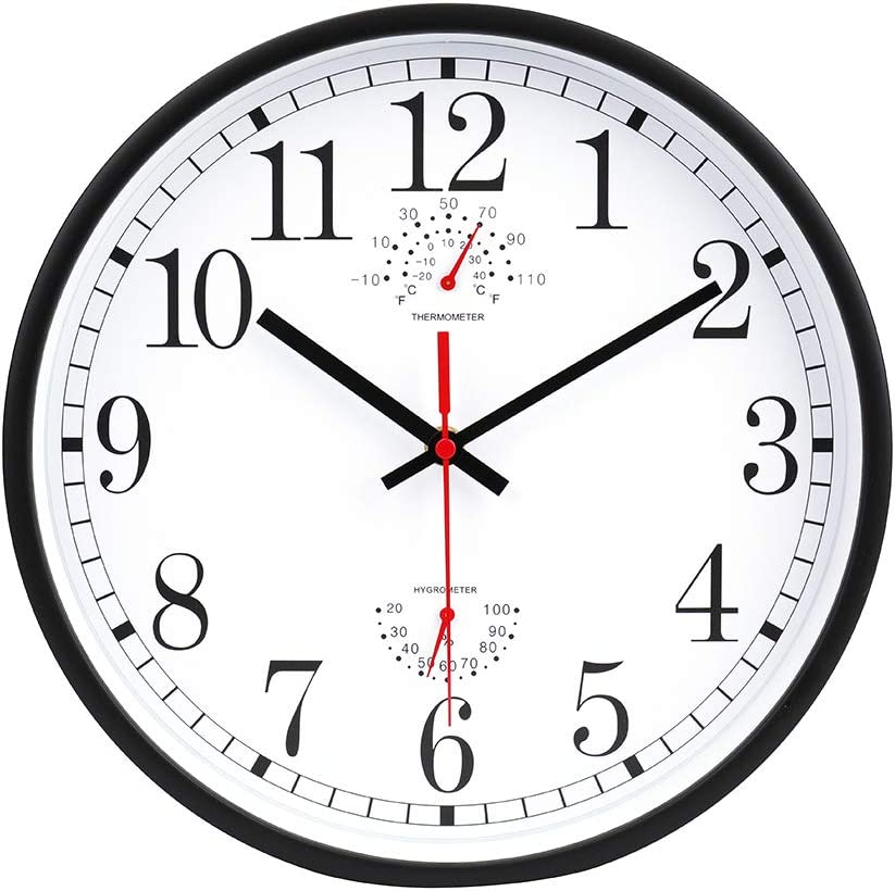 jomparis 12 Inch Modern Non-Ticking Silent Sweep Movement Wall Clock Battery Operated Quartz Round Wall Clock with Thermometer and Hygrometer for Office,Home,Living Room,Bedroom