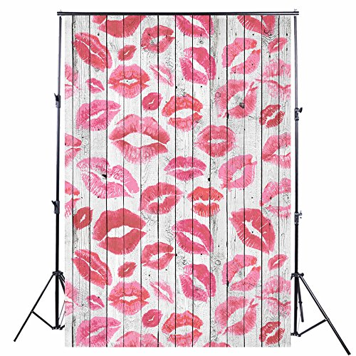 Lips Backdrop Valentine's Day Wood Hickey Backdrops Wood Photography Backdrop Photo Props Wood 90s Backdrop Background KP-294 -