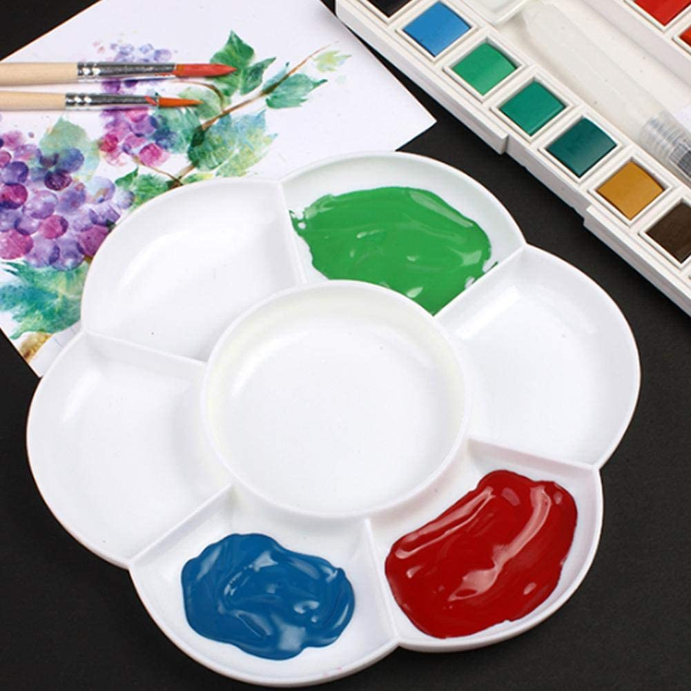 White 7 Holes Imitation Ceramic Plum Shaped Palette Art Drawing Painting Tray Oil Watercolor Acrylic Paints Holding for Fine Artists Crafter
