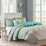Madison Park Nisha Full/Queen Size Quilt Bedding Set - Grey Teal, Paisley – 6 Piece Bedding Quilt Coverlets – 100% Cotton Bed Quilts Quilted Coverlet