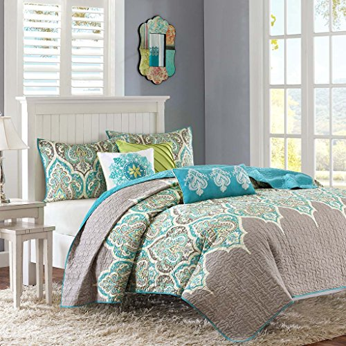 - Madison Park MP13-1683 Nisha 6 Piece Quilted Coverlet Set, King/California King, Teal