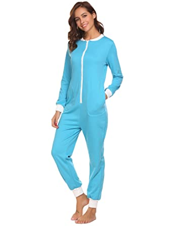 e8b761d501 Tobagood Women s Jumpsuit One Piece Non Footed Pajama Playsuit (5423 Blue