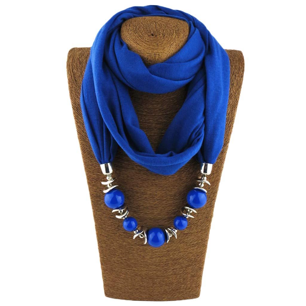 sciarpa con collana perle Scialle di tinta unita 5 longsw scialle donne foulard gioielli collana nazionale vento sciarpa