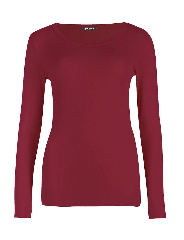 Rimi Hanger Women Long Sleeve Plain Stretch Round Neck Top S/3XL