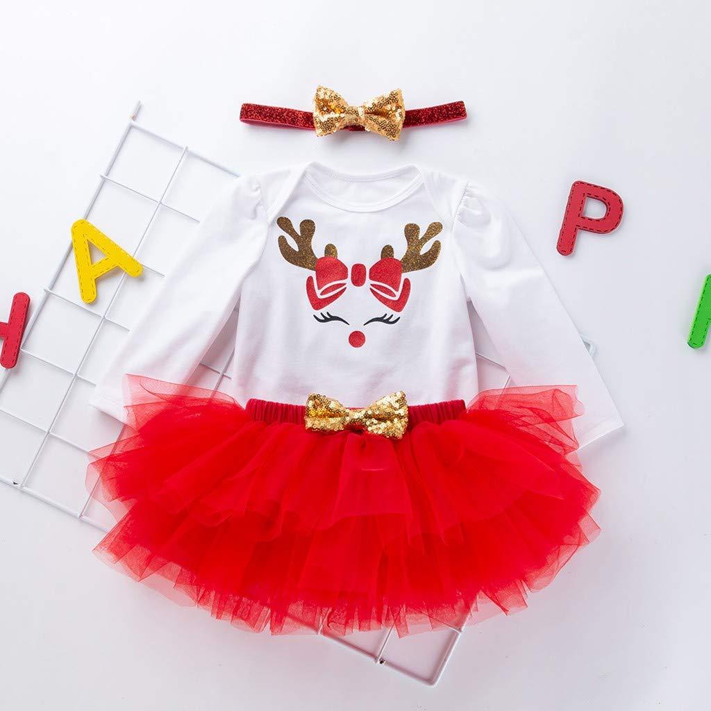K-Youth Vestido Bebe Ni/ña Fiesta Conjuntos Ni/ña Navidad Reno Bodys Bebe Ni/ña Ropa Bebe Recien Nacido Ni/ña Invierno Mameluco Ni/ñas Bautizo Mono Tutu Falda Princesa Diadema con Lazo