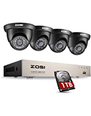 ZOSI 8 Channel Full 720p HD-TVI Security Camera System,Surveillance DVR Recorders with (4) 1.0MP 1280TVL Weatherproof Indoor/Outdoor Day/Night Dome Cameras