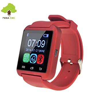 Noza Tec U8 Reloj Inteligente Smartwatch Deportivo con Bluetooth Compatible con Teléfono de Android Samsung, Apple iOS iPhone - Rojo