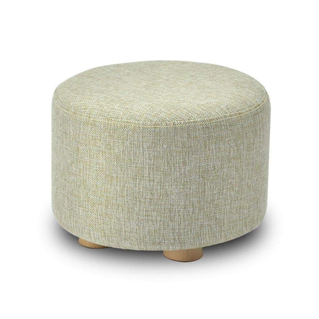 CS-JZ Shoe Stool, Washable Linen Seat Cushion Round Footstool, Wooden 4 Legs Round Dustproof,29X29X20CM by CS-JZ
