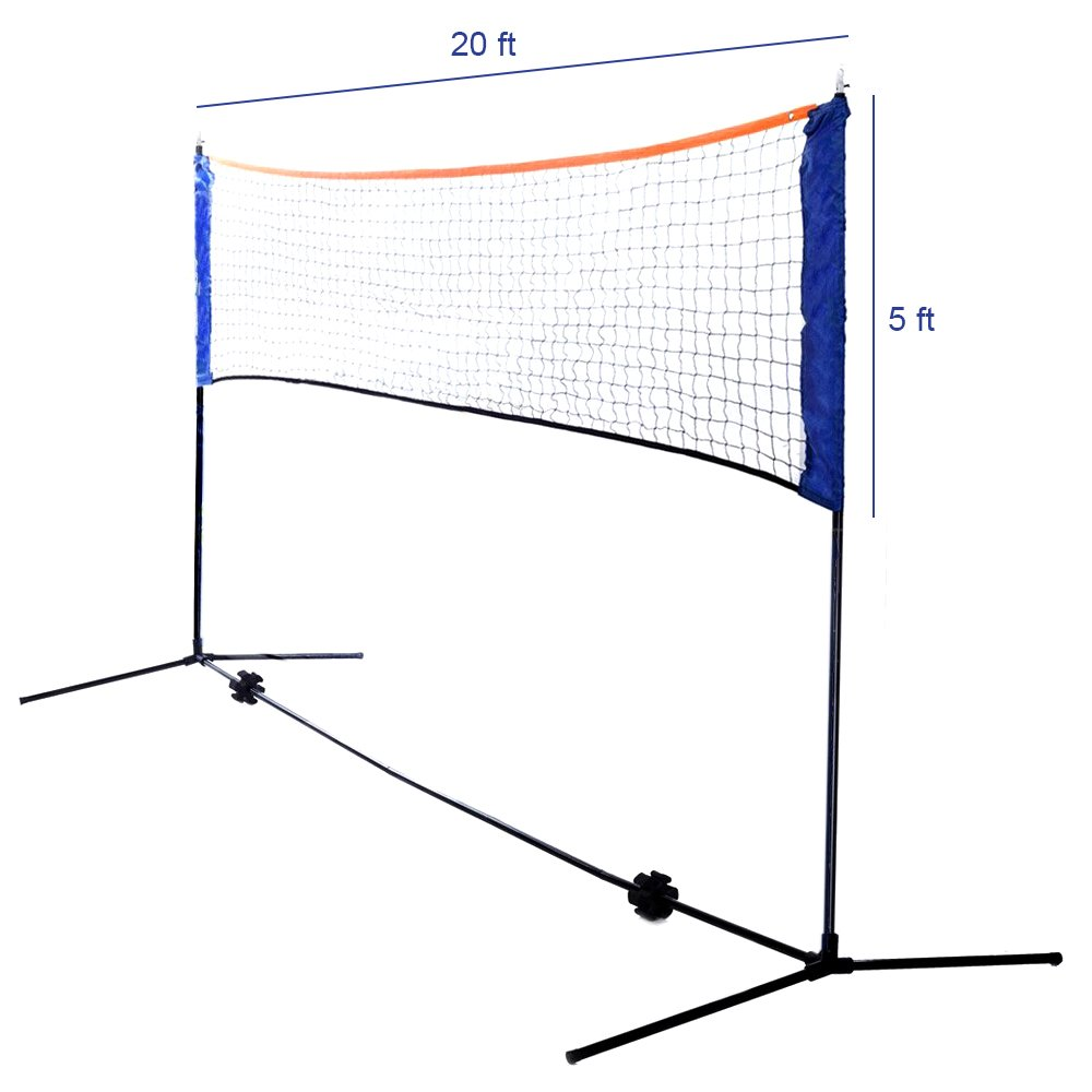 Ivation Volleyball/Badminton Set Includes 20 - Foot Net, 4 Racquets, 2 Birdies & Carry Bag