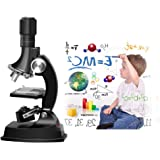 Fozela Microscope for Kids, 100x 600x 1200x Magnification Microscope Kit with Prepared Slides, Science Toys for Children, Early Education(Black)
