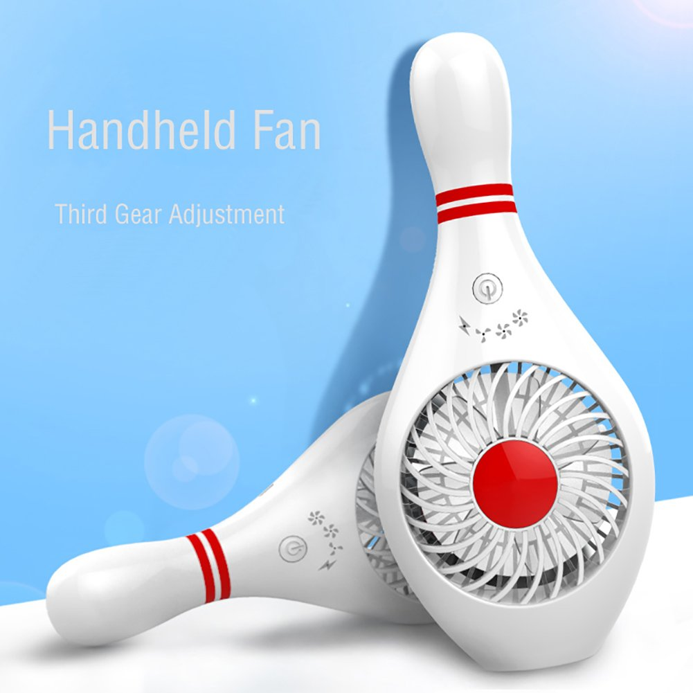 WANCHUANG MINI Handheld Portable Standable Fan Bowling Shaped with 3 Speeds USB Rechargeable Battery Safety Quiet Personal Desk Table Fan for Home Travel Bedroom Library Office Outdoor (Bowling White)