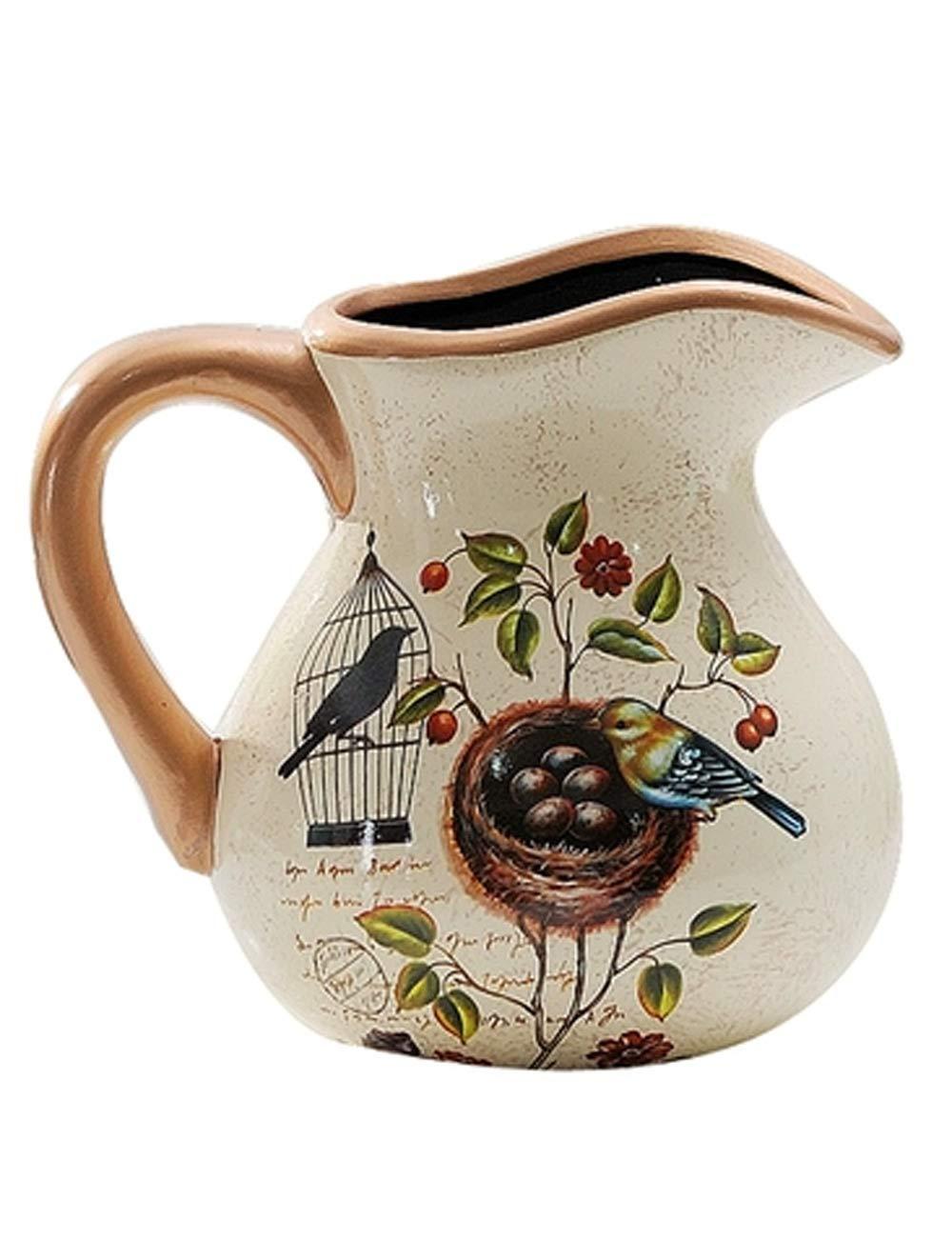 装飾品、セラミック材料のアートワーク、ヨーロッパスタイルのレトロ装飾、クリエイティブな花瓶の工芸品 (色 : ベージュ)  ベージュ B07JZMFZX5
