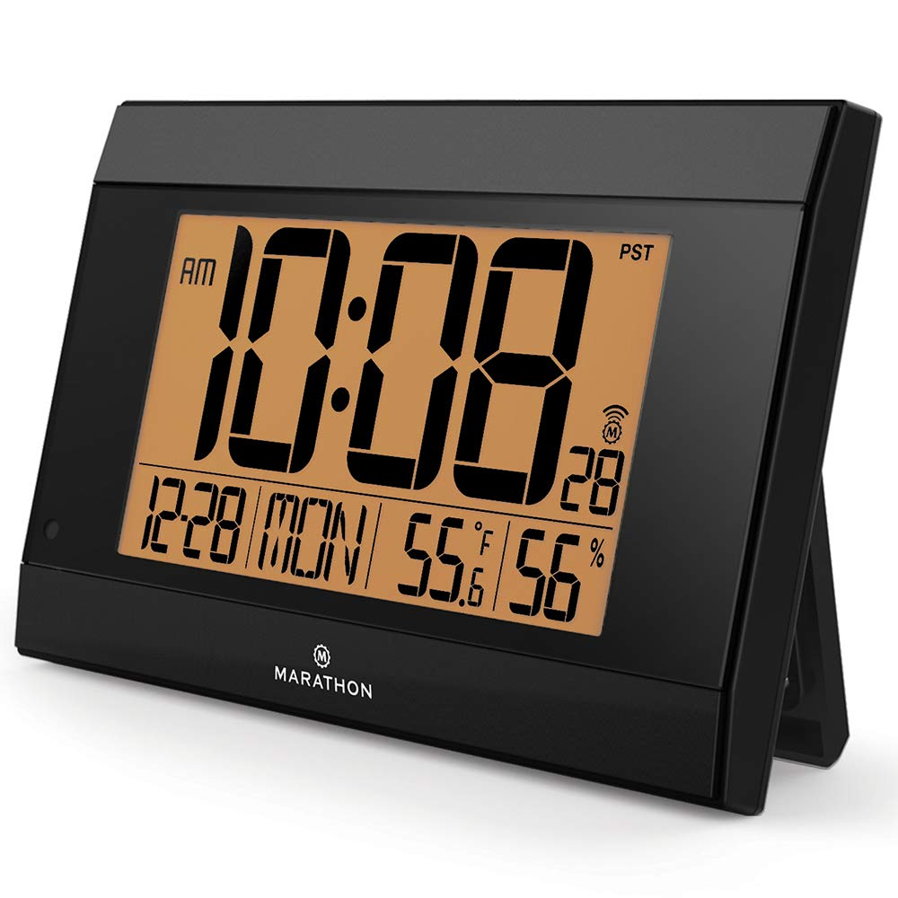 Marathon CL030052BK Atomic Digital Wall Clock with Auto-Night Light, Temperature & Humidity - Batteries Included. Black