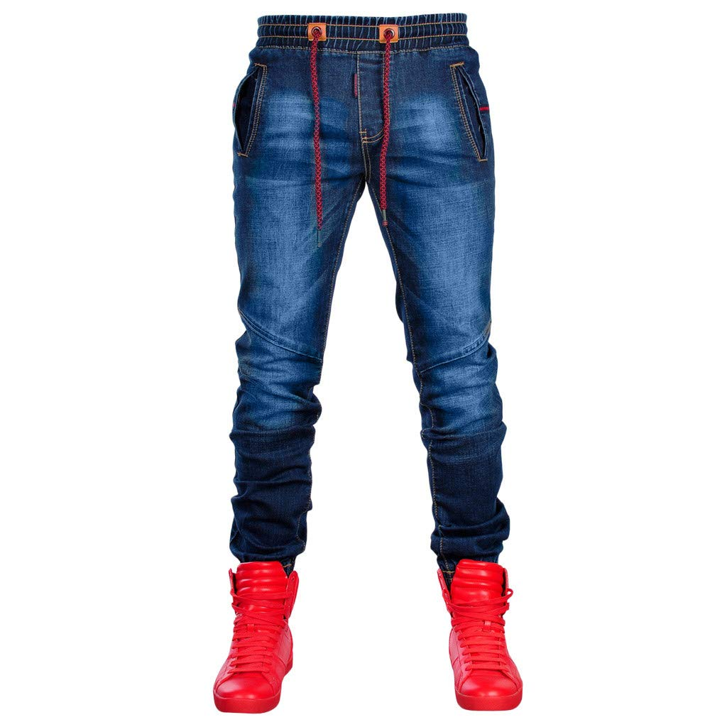 VPASS Pantalones Vaqueros para Hombre,Pantalones Casuales Moda Deportivos Running Pants Skinny El/ásticos Pantalon Fitness Jeans Largos Pantalones Ropa de Hombre