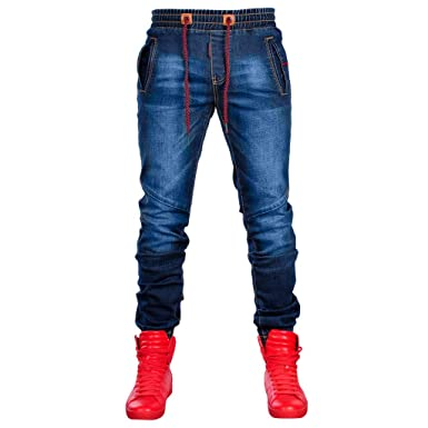 7b58e3ee0f07 Mr.Macy Men s Fashion Denim Cotton Straight Hole Pocket Distressed Jeans  Pants Dark Blue