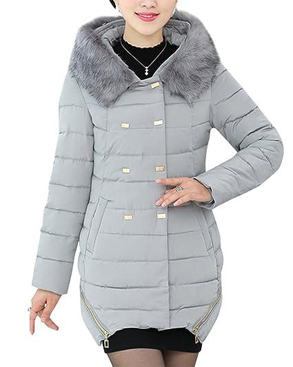Cihui Mujeres de Mediana Edad Acolchada de Outwear Abrigo Anorak Invierno Chaqueta Abajo Abrigo Acolchado Gris