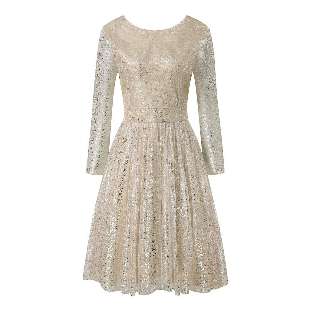 Aniywn Women Formal Wedding Bridesmaid Dress Plus Size High-Waist Party Ball Prom Gown Cocktail Dress Beige