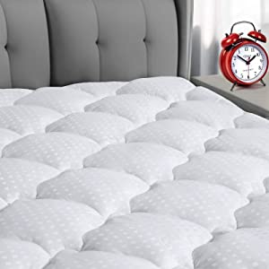 "COOSLEEP HOME Queen Mattress Pad Cotton Top Soft Pillow Top Mattress Cover 8-21"" Deep Pocket Fitted Mattress Topper Hypoallergenic Mattress Protector White"