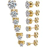 6 Pairs 18K Gold Plated CZ Stud Earrings Simulated Diamond Round Cubic Zirconia Ear Stud Set 3mm-8mm