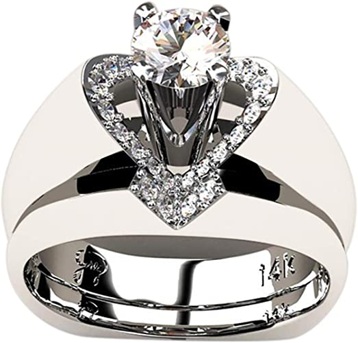 White Topaz/&Amethyst 925 Silver Women Jewelry Wedding Engagement Ring Sz 6-10
