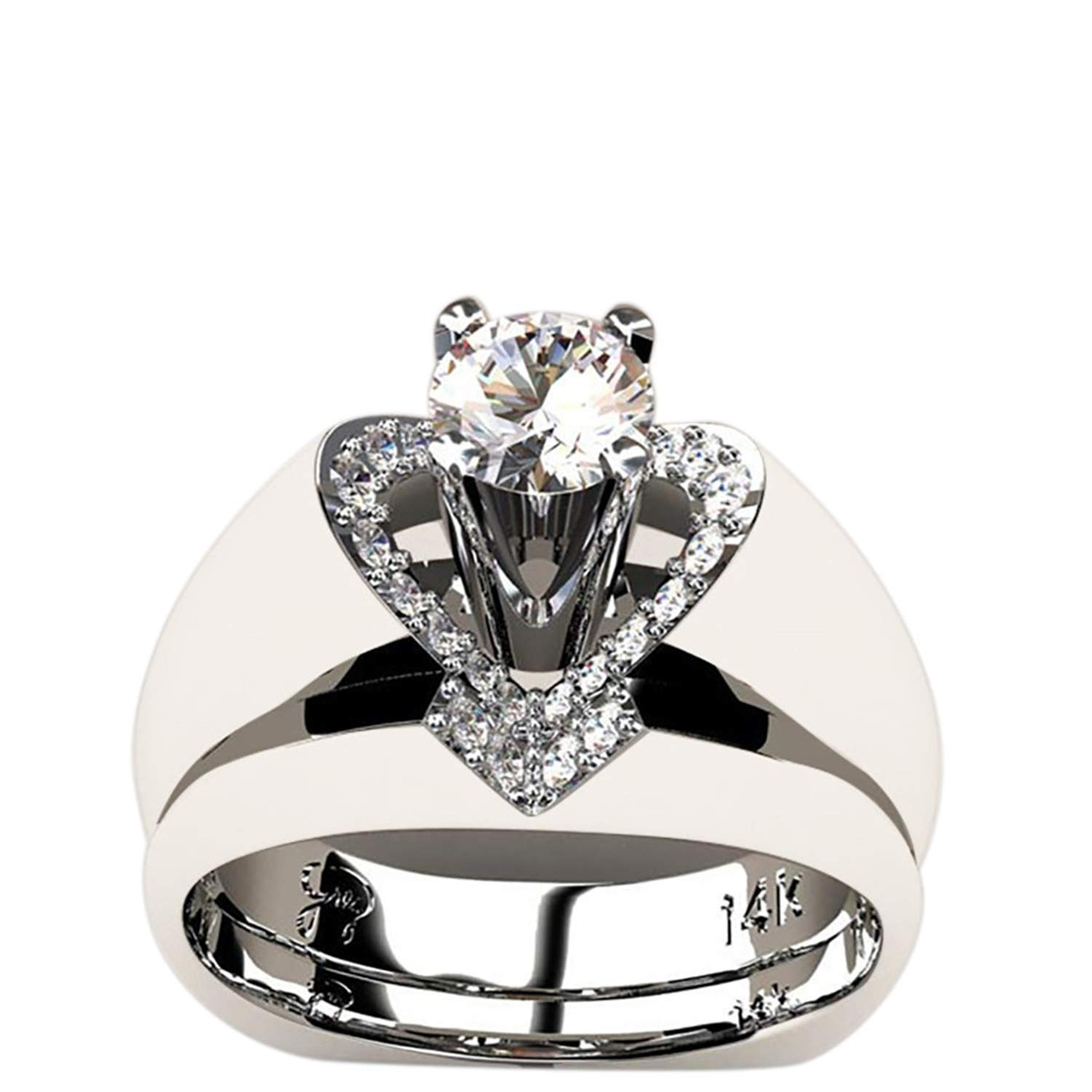 HUAMING Delicate Women Fashion 925 Sterling Silver Creative Heart Shaped Diamond Ring White Sapphire Diamond Ring Engagement Wedding Jewelry Size (Silver, 6)