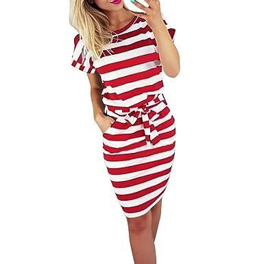 fc09a8e76 Vestido de Playa de Manga Corta a Rayas de Manga Corta con Lazo de Verano para  Mujer Vestido de cinturón de Rayas de Cuello Redondo para Mujer  Amazon.es   ...