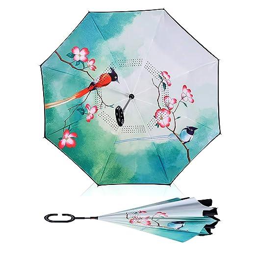 YKYM Paraguas Invertido Upside Down Manija En Forma De C Protección UV por Plegado Inverso para Manos Libres, Plegado Interior para Uso del Automóvil: ...