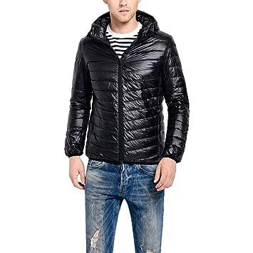 HUKOER Chaqueta de pluma de Invierno plumífero para hombres Compresible Ligero Acolchada terciopelo de pato abrigo chaqueta abajo