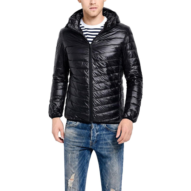 Amazon.com: 4YANG Mens Packable Lightweight Spring Down Puffy Jacket Padded Jacket Windbreaker Coat Black: Clothing