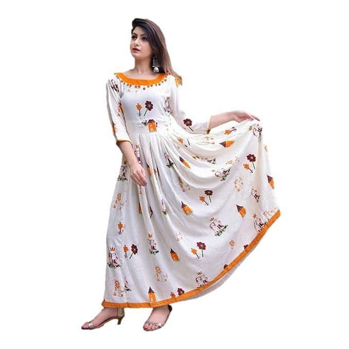 6770bc35e shri hari kurtis Kurti Size:M(40) Length:(48) Beautiful Designer reyon  Kurti for Girls and Women White: Amazon.in: Clothing & Accessories